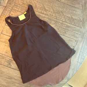 Maeve black and brown silk tank top